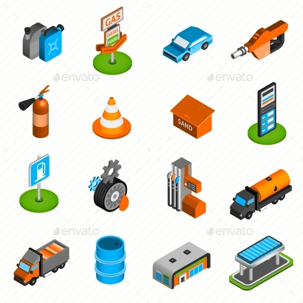 Gas Station Elements Isometric Icons - Man-made objects Objects