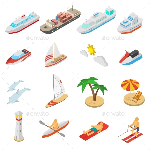Ships and Beach Vacation Icons Set - Miscellaneous Vectors