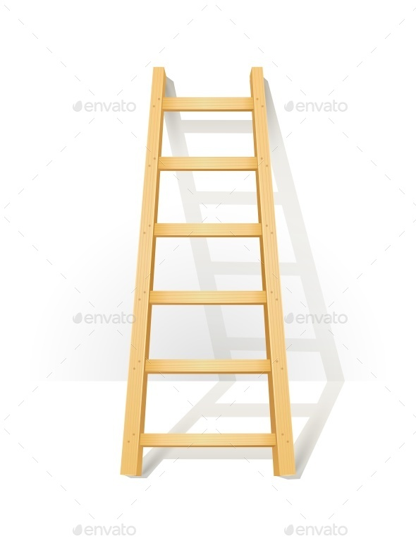 Wooden Step Ladders Stand Near White Wall - Industries Business