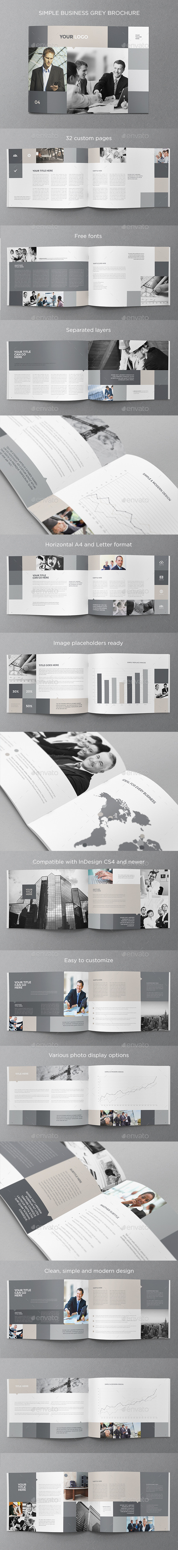 Simple Business Grey Brochure - Brochures Print Templates