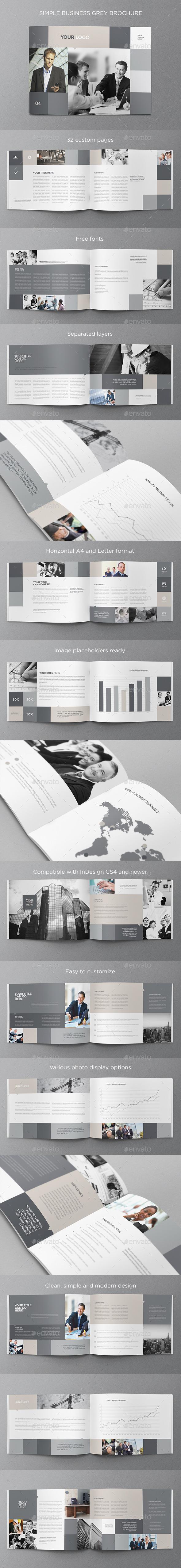 Simple Business Grey Brochure - Brochures Print Templates