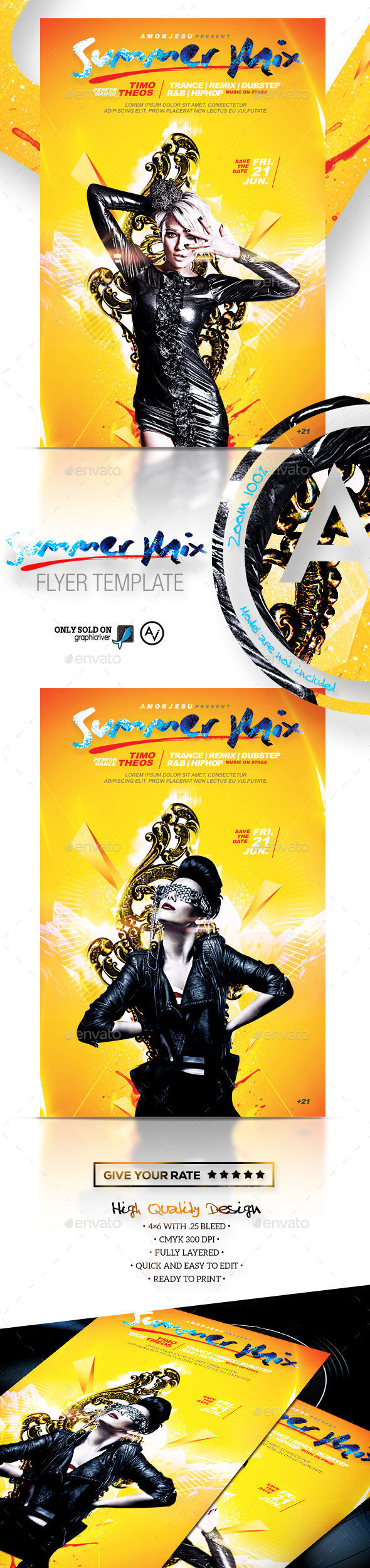 Summer Mix Flyer Template - Clubs & Parties Events