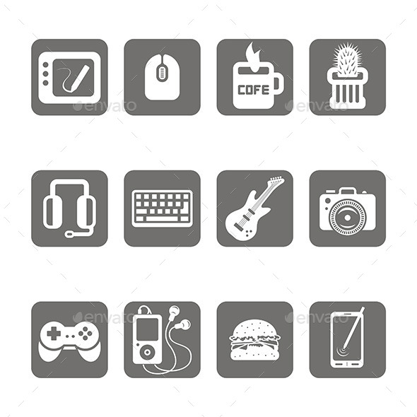 Multimedia Icons Set - Man-made Objects Objects