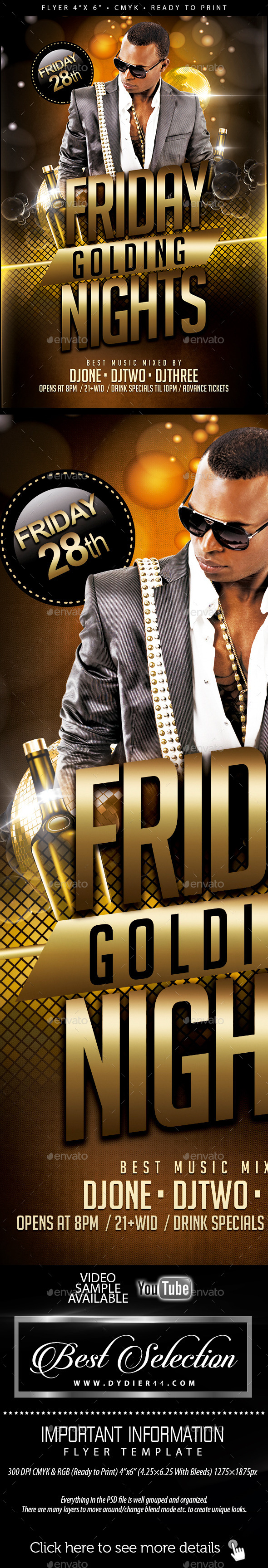 Friday Golding Nights   (Flyer Template 4x6)  - Clubs & Parties Events
