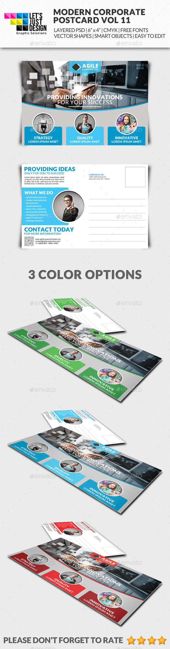 Corporate Postcard Template Vol 11 - Miscellaneous Print Templates