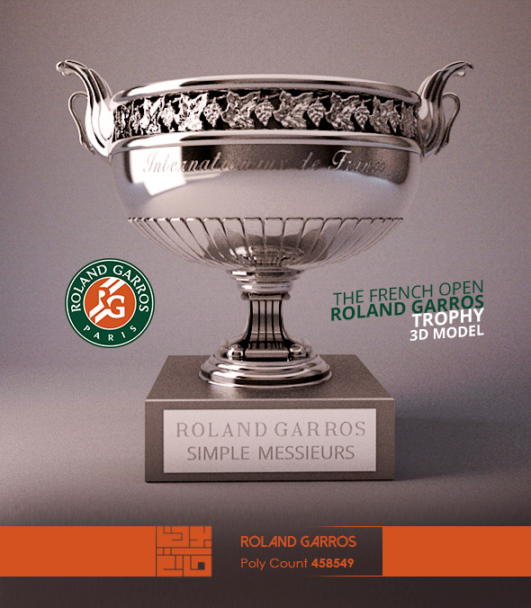 Roland Garros Trophy 3D Model - 3DOcean Item for Sale