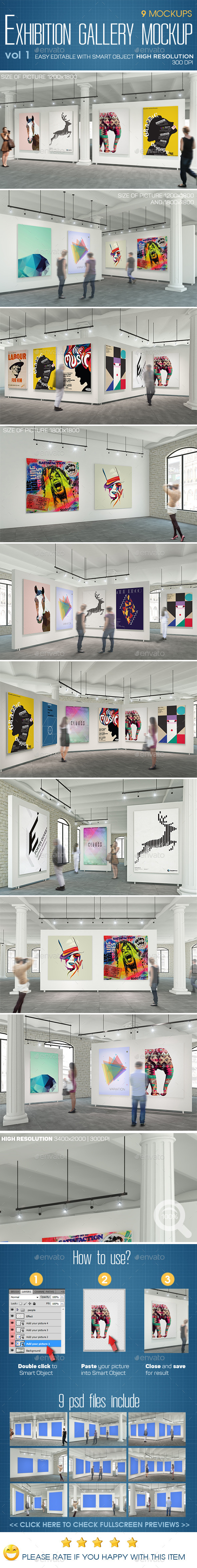 Exhibition Gallery Mockup v.1 - Classical Interior - Posters Print