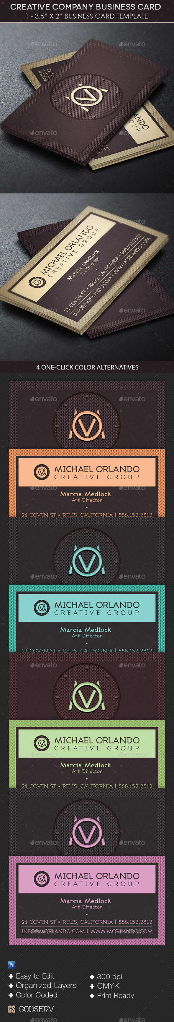 Creative Company Business Card Template  - Industry Specific Business Cards