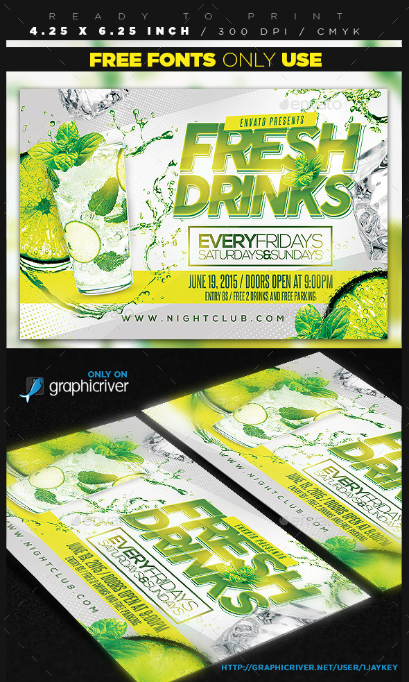 Fresh Drinks Flyer - Clubs & Parties Events