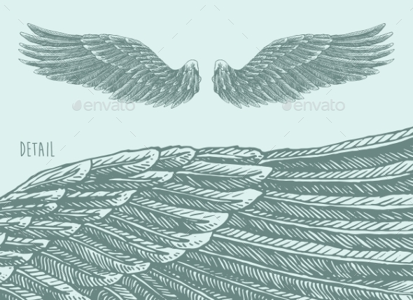 Angel Wings Illustration - Tattoos Vectors