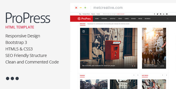 ProPress – Responsive News & Magazine Template