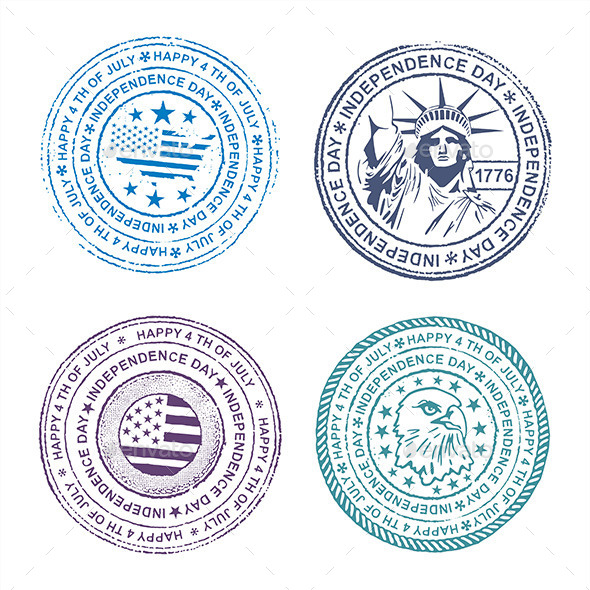 Independence Day Stamp - Decorative Symbols Decorative