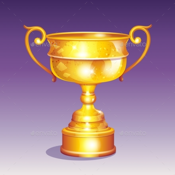 Cartoon Illustration of a Golden Cup - Man-made Objects Objects