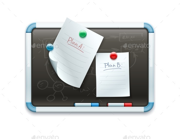 Office Blackboard with Pinned Paper Sheets - Concepts Business