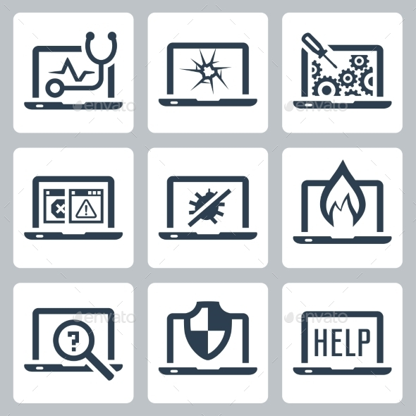 Laptop Tech Service Icon Set - Icons