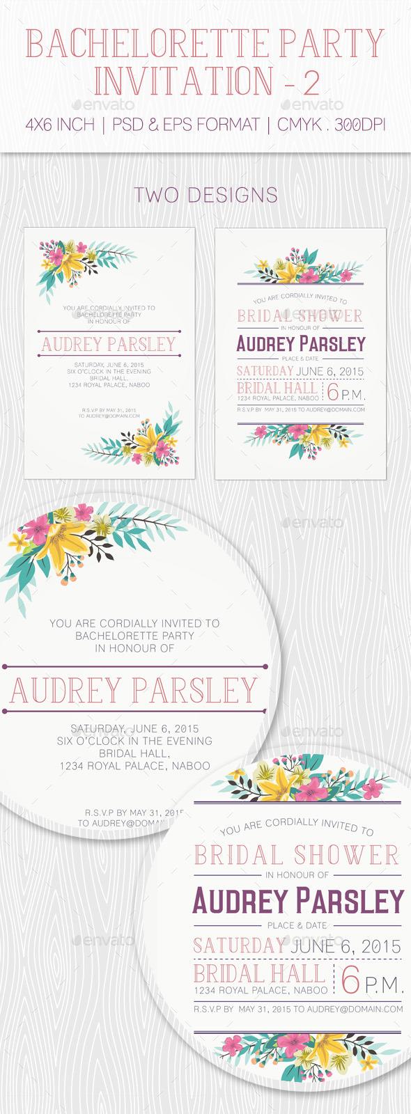 Bachelorette Party Invitation - 2 - Weddings Cards & Invites