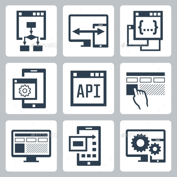 Application Programming Interface Icon Set - Technology Icons