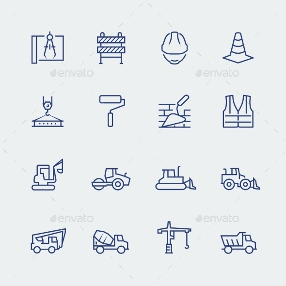 Construction And Building Icon Set In Thin Line - Icons
