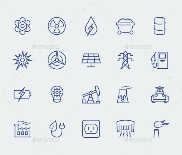 Energy And Electricity Icon Set In Thin Line Style - Icons