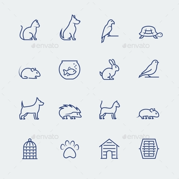 Pets Related Icon Set In Thin Line Style - Animals Characters