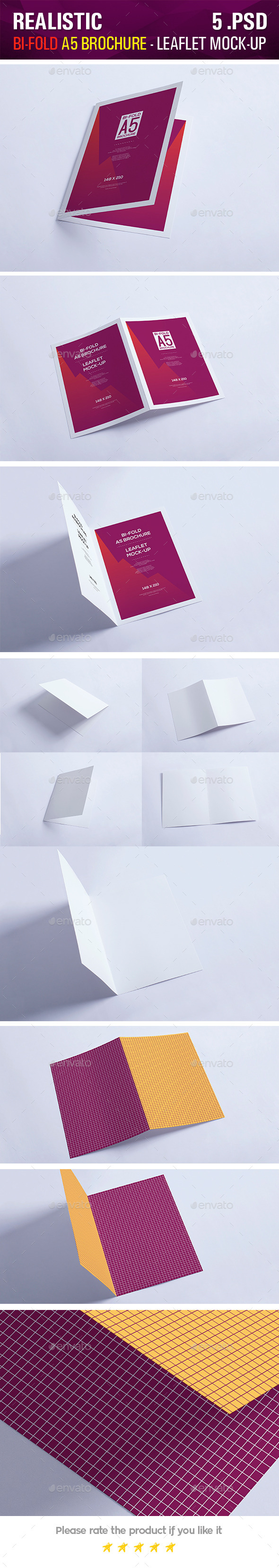 Bi-Fold A5 Brochure - Leaflet Mock-up - Brochures Print