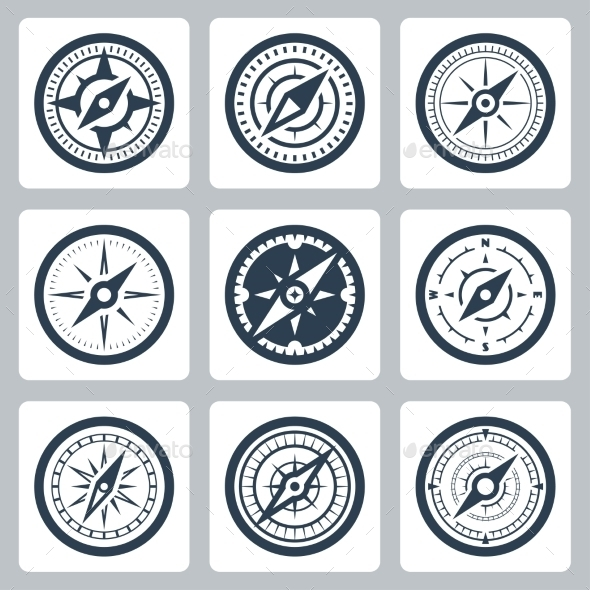 Compasses Vector Icon Set - Icons