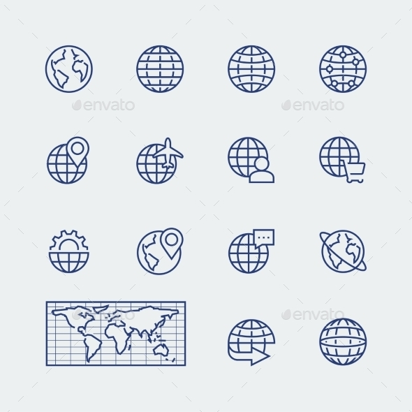 Earth Planet, Globe Vector Icons Set - Icons