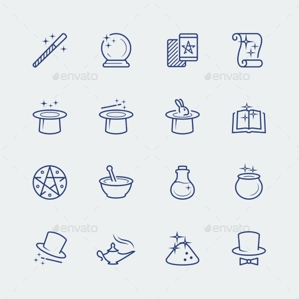 Vector Set Of Magic Related Icons - Icons
