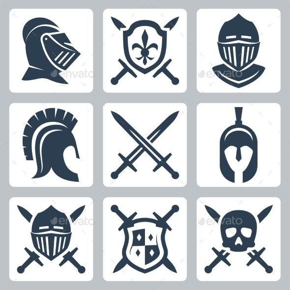 Medieval Armor And Swords Icon Set - Icons