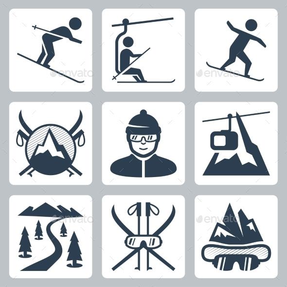 Vector Ski And Snowboard Resort Icon Set - Icons