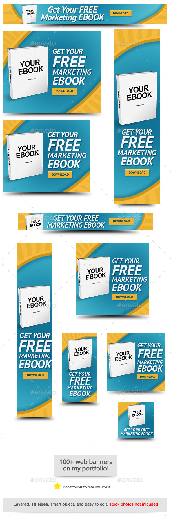 Free Ebook Web Banner Template - Banners & Ads Web Elements
