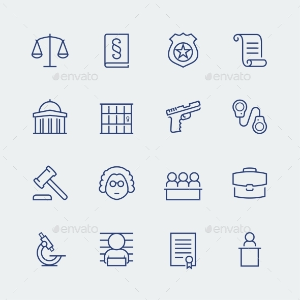 Law And Justice Related Vector Icon Set - Icons
