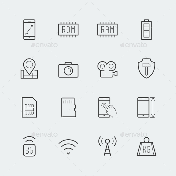 Smartphone Parameters Icon Set: Screen Dimensions - Icons