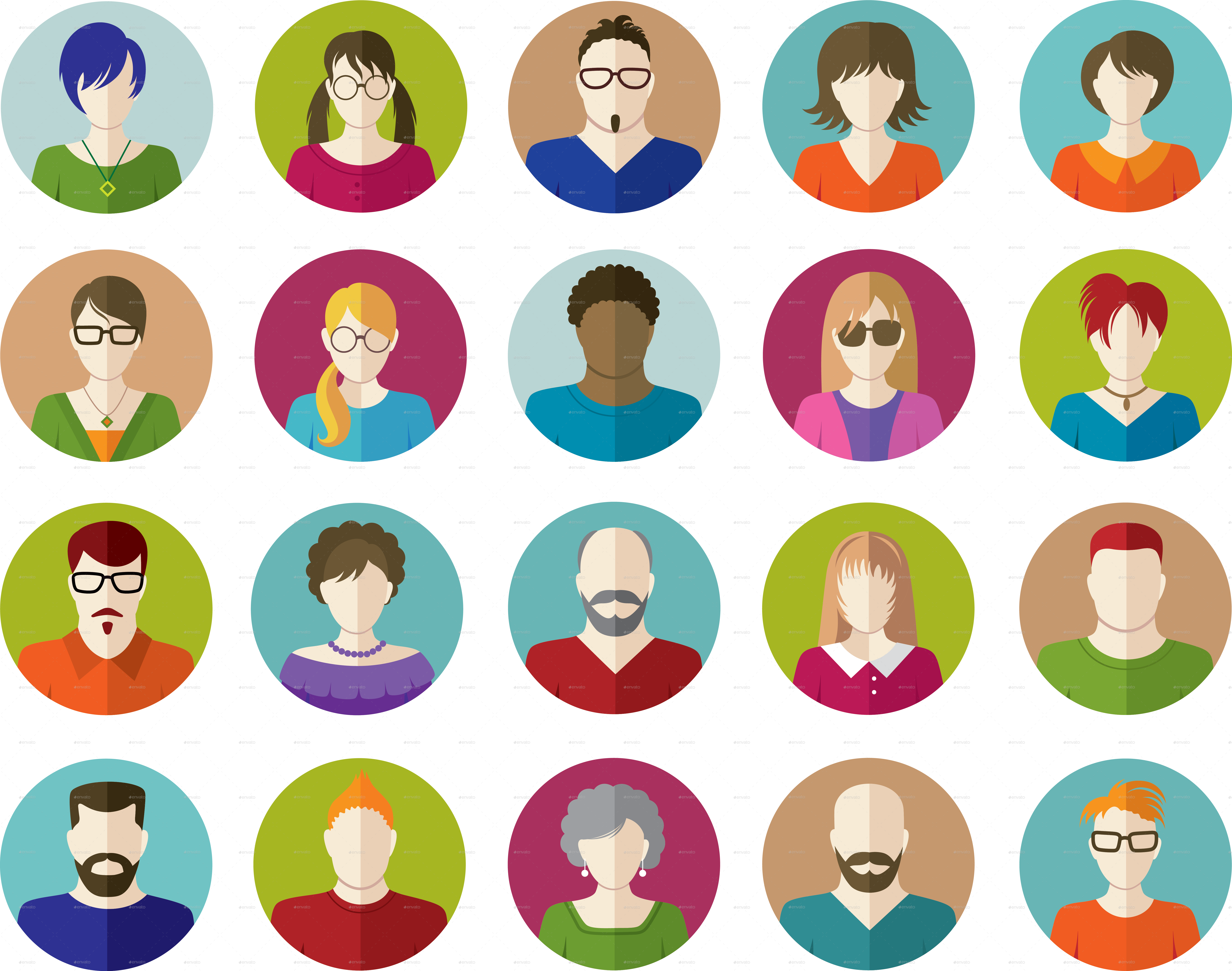 Set Of People Flat Icons By Vectorgirl