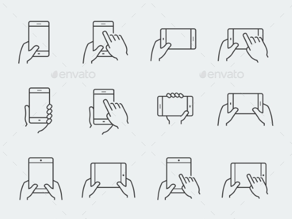 Icon Set Of Hands Holding Smartphone And Tablet - Icons