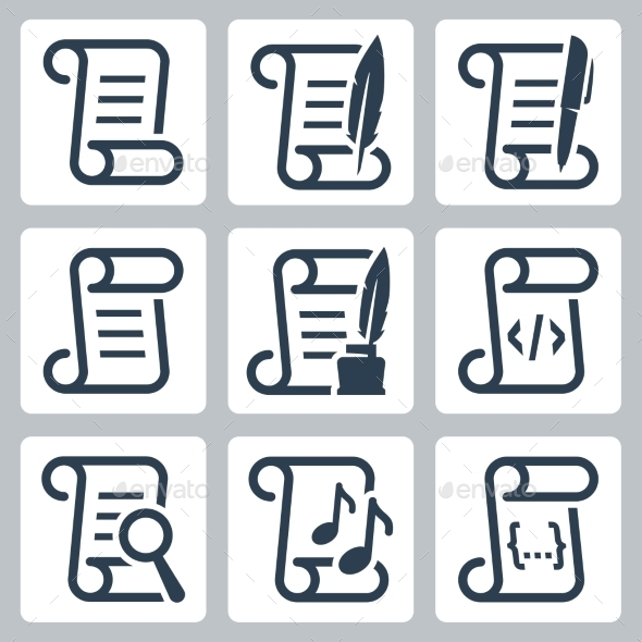 Paper Scroll Vector Icon Set - Icons