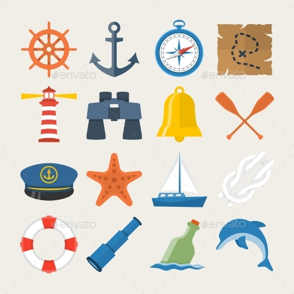 Nautical Icon Set In Flat Style - Icons