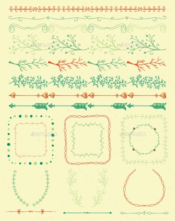 Hand Sketched Colorful Seamless Borders - Borders Decorative