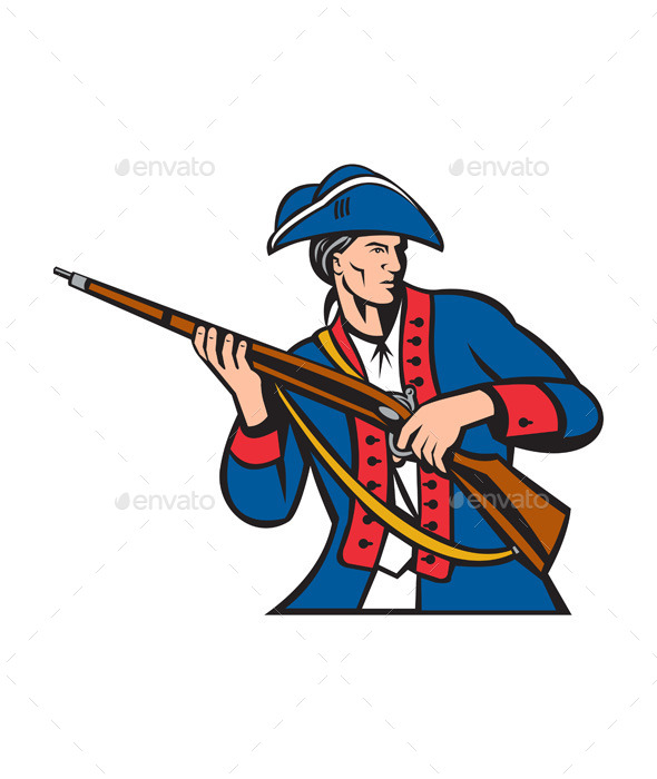 American Patriot Militia Musket Retro - People Characters