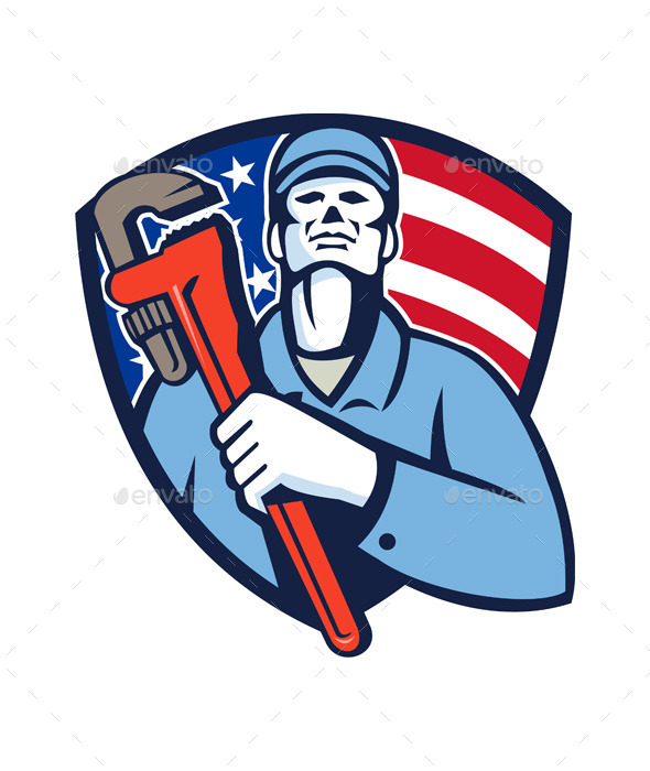 Plumber Holding Wrench USA Flag Shield - People Characters