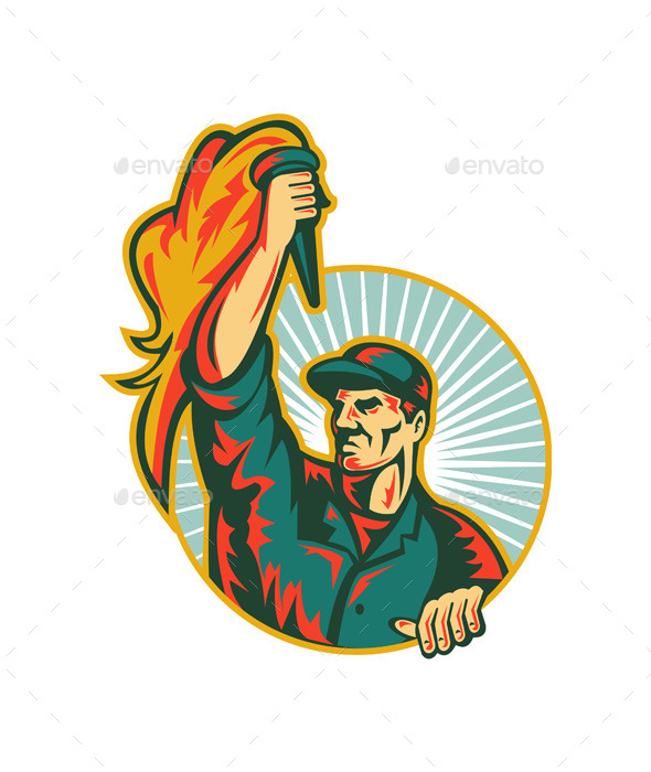Worker Holding up Flaming Torch  - People Characters