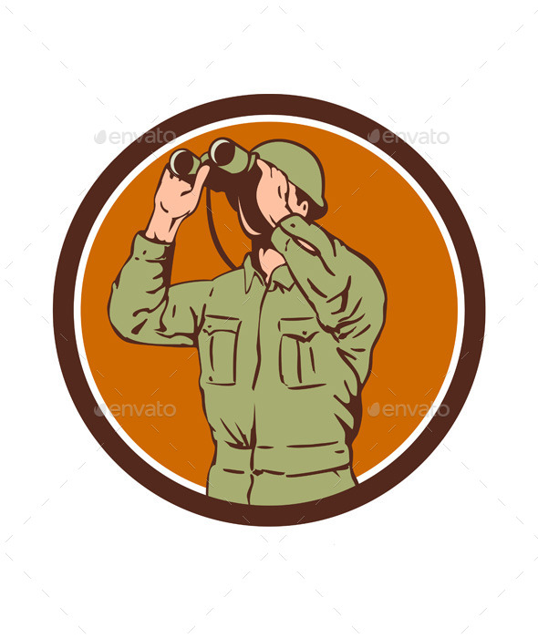 World War Two American Soldier with Binoculars - People Characters