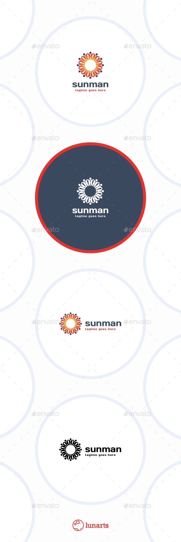 Sun Man Logo - Flower - Nature Logo Templates