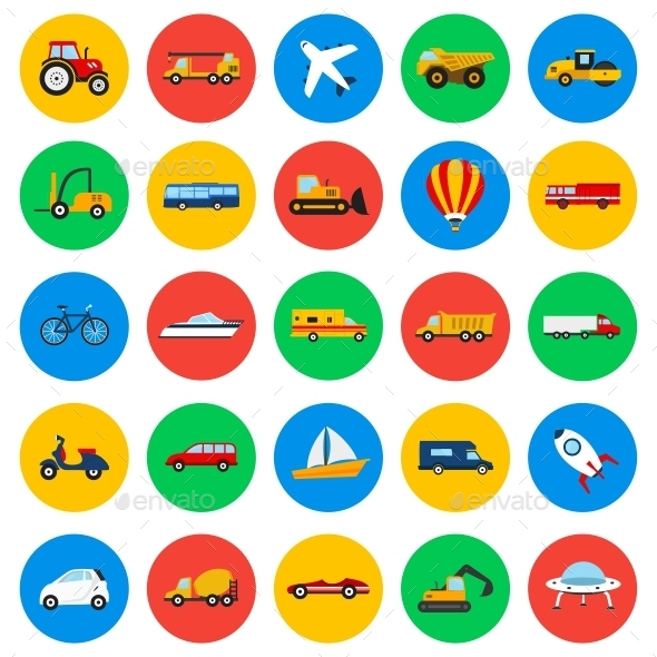 Vehicles Circle Icons - Man-made objects Objects