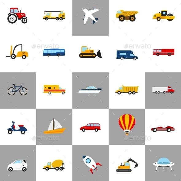 Vehicles Icons - Man-made objects Objects