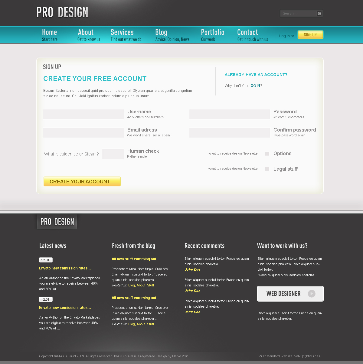 Pro Design Html Business Portfolio Blog Template By