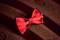 Red bowtie on striped background