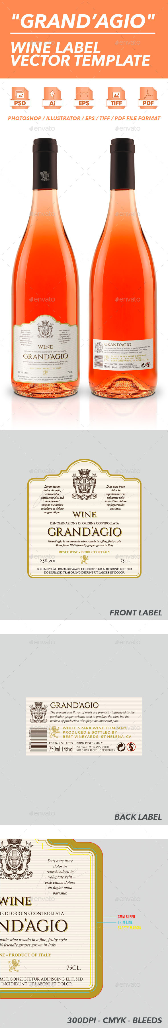 Grand'Agio - Wine Label Vector Template - Packaging Print Templates