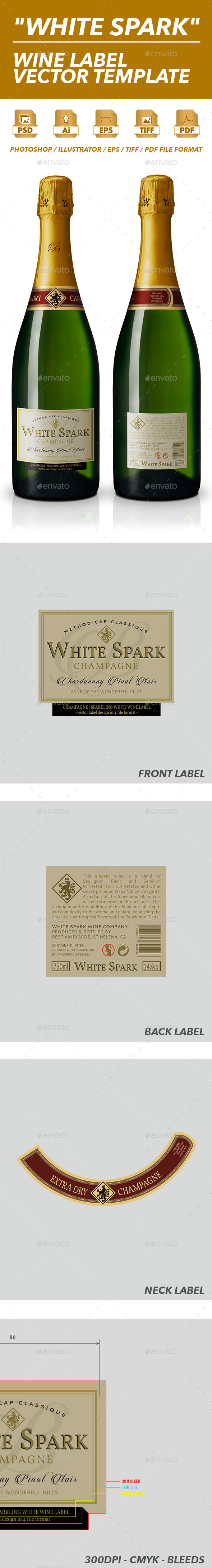 Sparkling Wine Label Vector Template - Packaging Print Templates