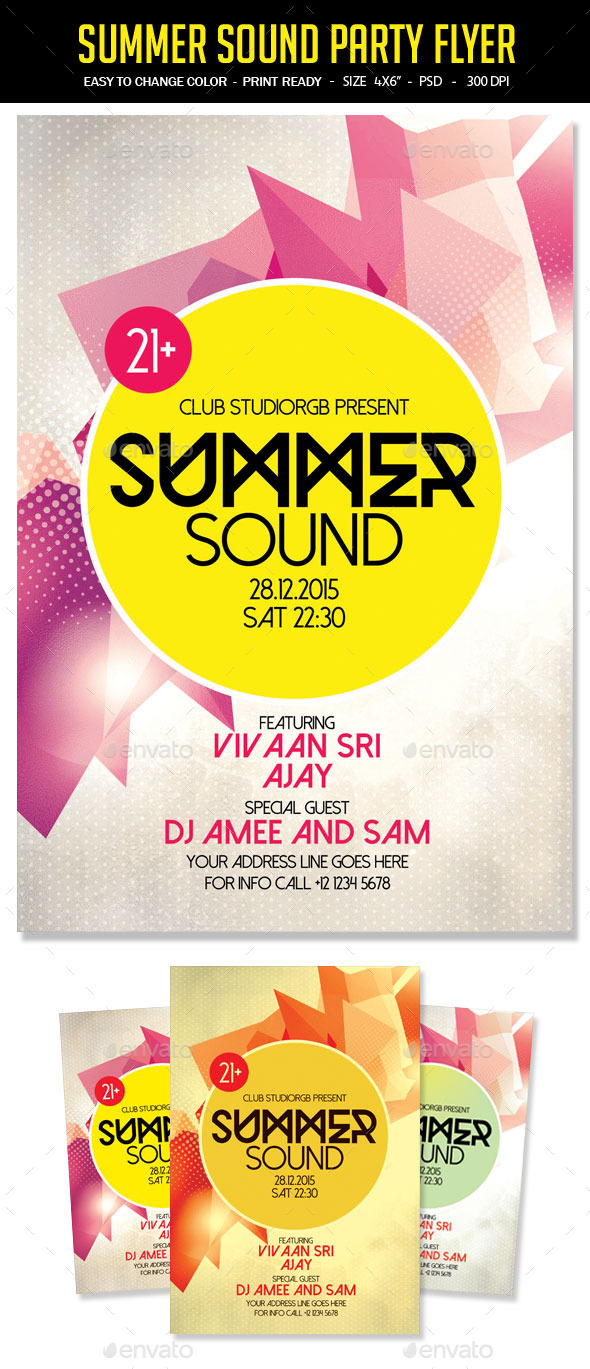 Summer Sound Party Flyer - Clubs & Parties Events